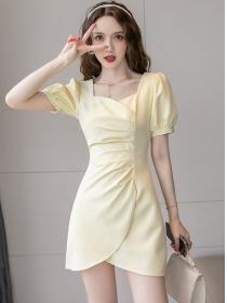 Summer Fashion Square Collar Pleated Puff Sleeve Dress