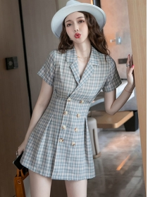 Classic Fashion Double-breasted Tailored Collar Plaids Dress