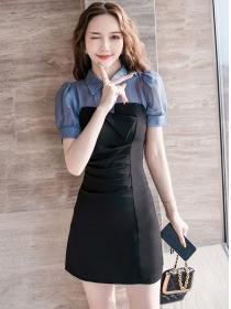 Modern Lady Shirt Collar Splicing Pleated Bodycon Dress