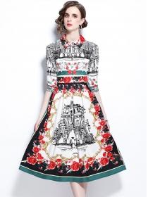 Retro Europe Shirt Collar Flowers Printings A-line Dress