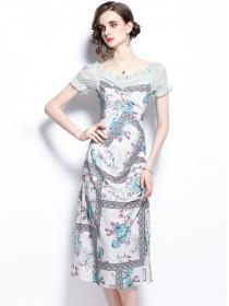 Wholesale Europe High Waist Flowers Bodycon Dress
