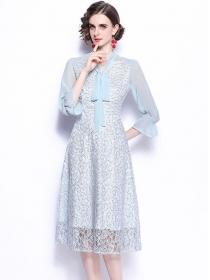 Grace Women Tie Collar Lace Flowers Flare Sleeve Dress