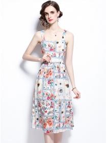 Pretty Europe High Waist Flowers Straps A-line Dress