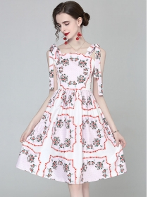 Lovely Wholesale Tie Straps Flowers A-line Dress