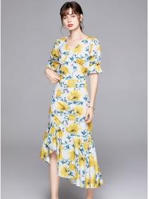 Pretty Europe V-neck High Waist Fishtail Flowers Dress Set