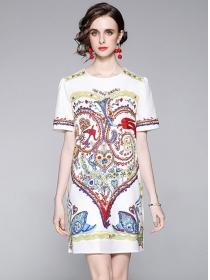 Retro Fashion Round Neck Printings Short Sleeve Dress