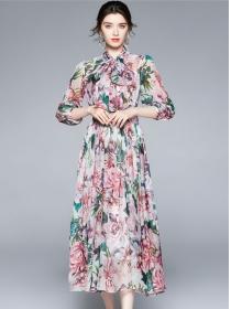 Charming Europe Tie Collar High Waist Chiffon Maxi Dress