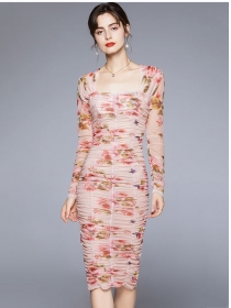 Grace Women Square Collar Pleated Skinny Gauze Dress