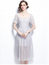 Grace Women High Waist Puff Sleeve Lace Long Dress
