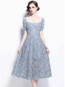 Wholesale Europe Square Collar High Waist Flowers Lace Dress