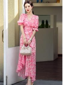 Hot Sell V-neck Puff Sleeve Tie Waist Flowers Dress Set
