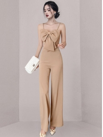 Modern Sexy Bowknot Camisole with High Waist Long Pants