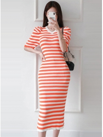 Wholesale Korea V-neck Stripes Slim Knitting Long Dress