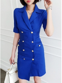 Grace Fashion 2 Colors Tailored Collar Double-breasted Dress