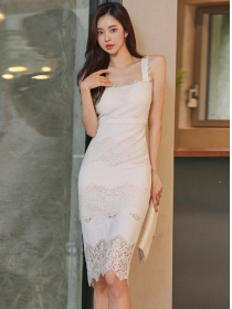 Elegant Women High Waist Lace Bodycon Straps Dress