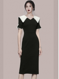 Retro Korea Doll Collar Short Sleeve Bodycon Dress