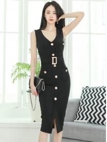 Summer Fashion Single-breasted V-neck Slim Tank Dress