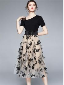 Retro Europe Belt Waist Butterfly Embroidery Gauze Dress