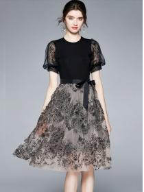 Europe Stylish Tie Waist Flowers Embroidery Fluffy Dress