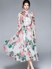 Charming Europe Tie Collar Flowers Chiffon Long Dress