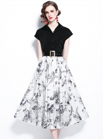 Summer Fashion V-neck Blouse with Flowers Long Skirt