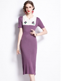 Hot Sell Doll Collar Flowers Embroidery Slim Knitting Dress