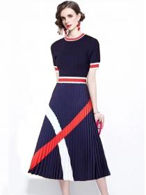 Retro Fashion Stripes Knitting Splice Pleated A-line Dress