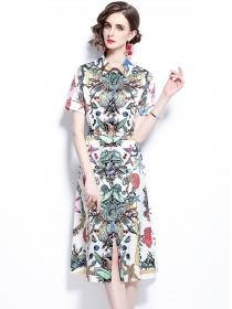 Fashion Retro Shirt Collar Flowers Short Sleeve A-line Dress