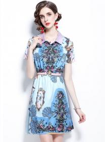 Wholesale Europe Shell Flowers Shirt Collar A-line Dress