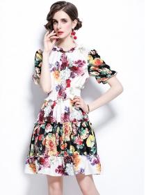 Retro Charming Elastic Waist Flowers Puff Sleeve Dress