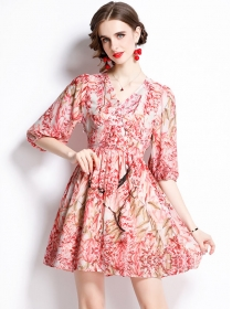 Summer New Single-breasted Puff Sleeve Flowers Dress