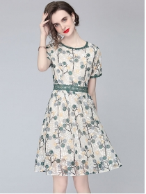 Retro Europe Lace Waist Flowers Short Sleeve Dress