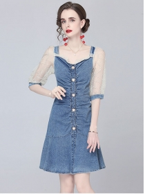 Fashion Europe Gauze Puff Sleeve Pleated Denim Dress