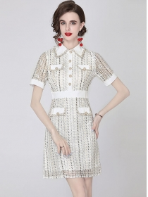 Elegant Fashion Shirt Collar Lace Slim Short Sleeve Dress