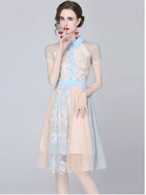 Summer New Shirt Collar Stripes Flowers Gauze Dress