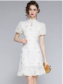 Grace Women Flowers Embroidery Fishtail Cheongsam Dress