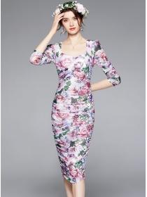 Elegant Women 3 Colors Flowers Pleated Slim Gauze Dress