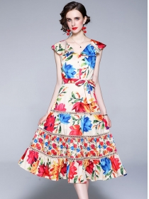 Wholesale Europe Doll Collar Flowers Tank A-line Dress