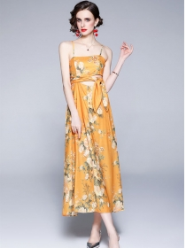 Sexy Summer Tie Waist Hollow Out Flowers Straps Dress