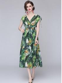 Retro Bohemia V-neck High Waist Flowers Maxi Dress