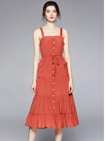 Summer Fashion Single-breasted Tie Waist Straps Dress