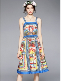 Europe Stylish 2 Colors Flowers Straps A-line Dress