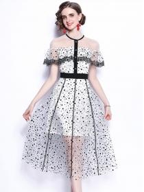 Fashion Summer Flouncing Dots Gauze Long Dress