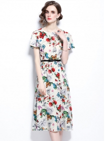 Charming Summer Round Neck Flowers A-line Dress