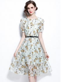 Summer Wholesale Lace Flowers Short Sleeve Dress
