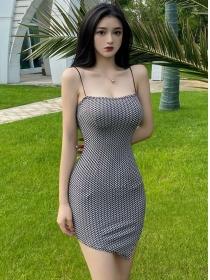 Sexy Fashion 2 Colors Plaids Skinny Straps Dress