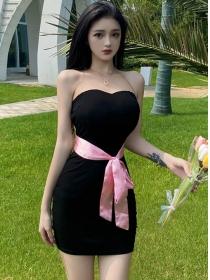 Modern Sexy Tie Waist Backless Skinny Cotton Dress