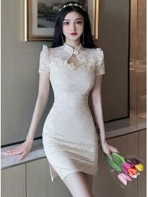 Retro Grace 2 Colors Beads Lace Slim Cheongsam Dress