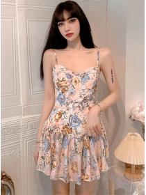 Wholesale Stylish Flowers Flouncing Straps A-line Dress