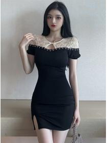Wholesale Korea Beads Lace Splicing Short Sleeve Dress